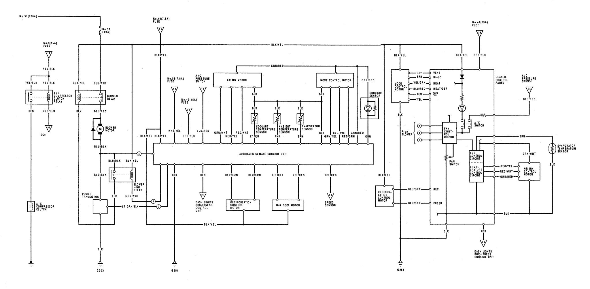 acura legend  1992  - wiring diagram - hvac controls