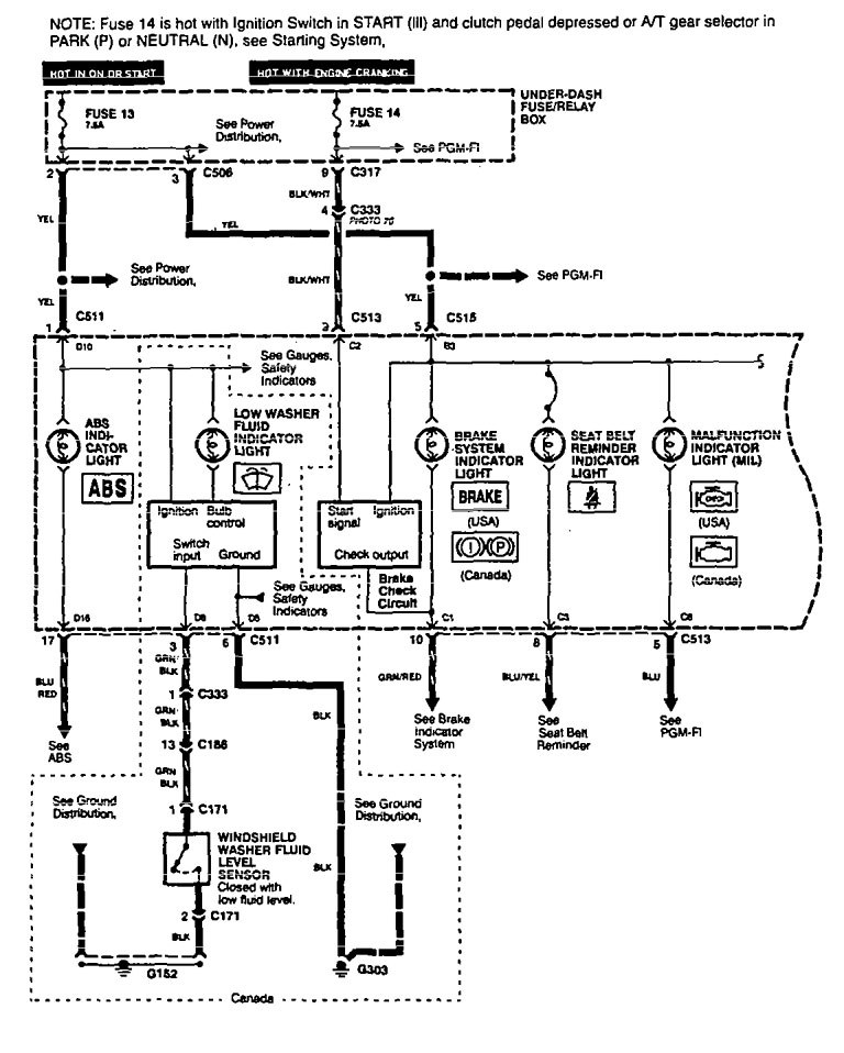 Acura Legend (1994) - wiring diagram - indicator lamp ...