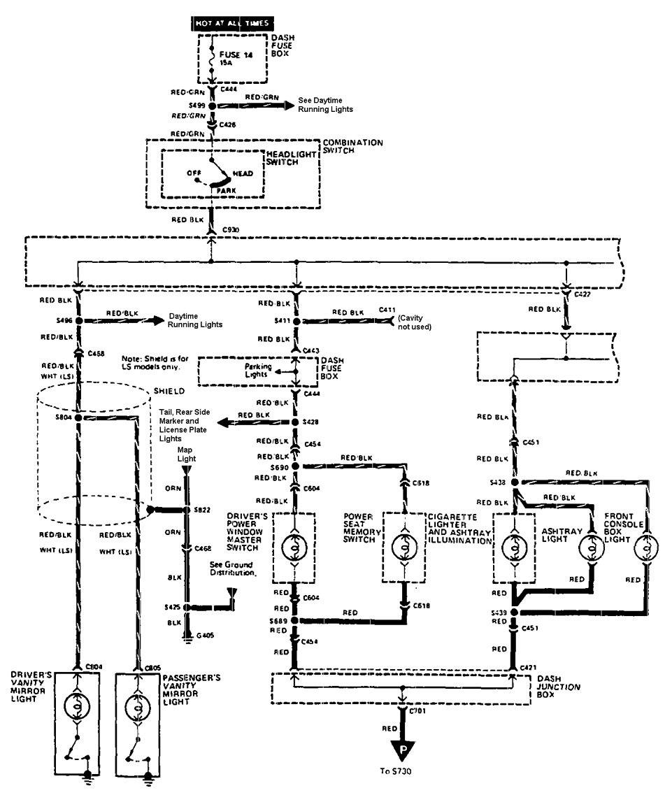 Acura Legend 1990 Wiring Diagram Instrument Panel Lamps Part 1