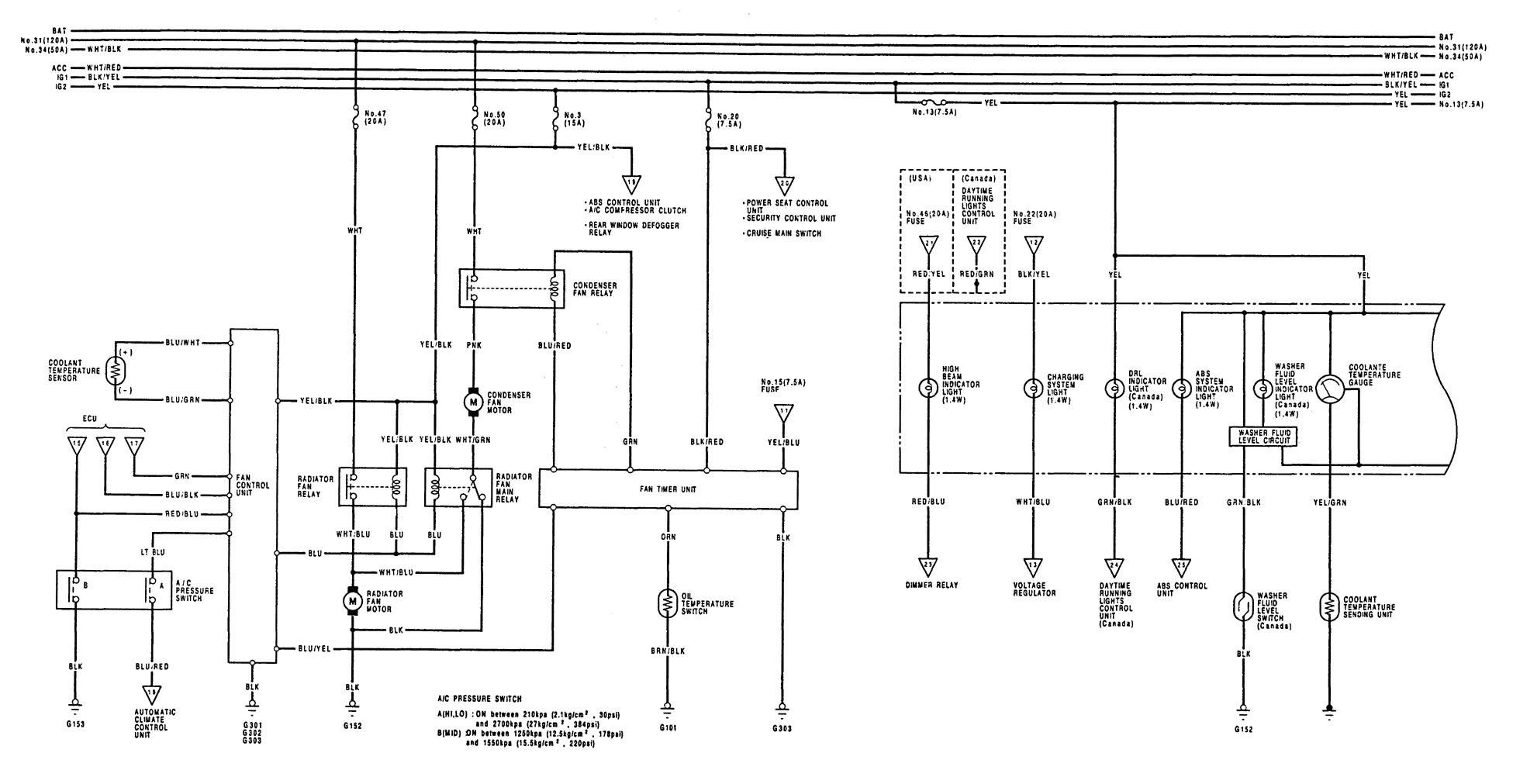 acura legend  1992 - 1993  - wiring diagrams - instrumentation
