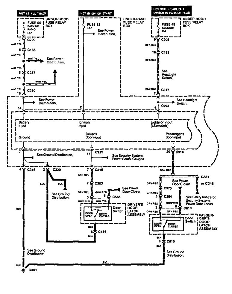 acura legend (1994) - wiring diagram - interior light dimming ...  carknowledge.info