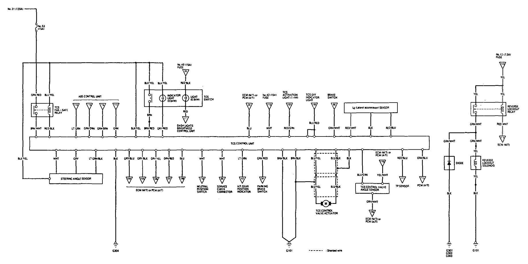 Acura Legend (1993) - wiring diagram - look up control ...