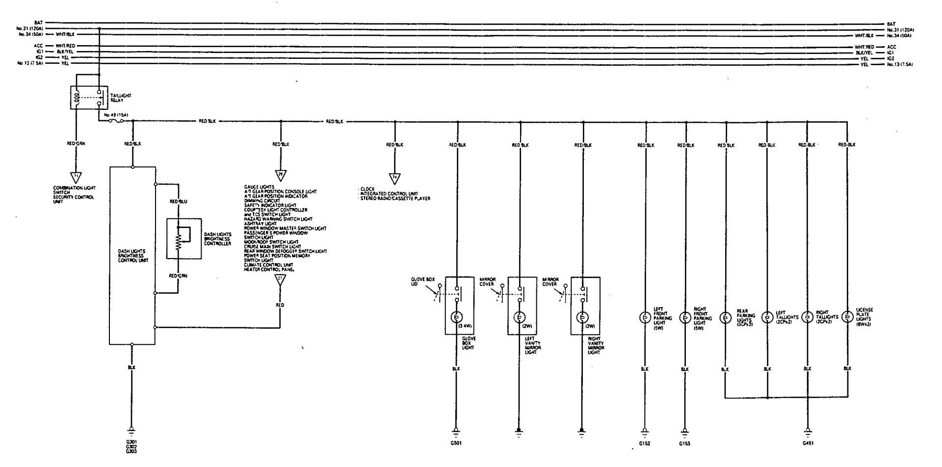 Acura Legend  1993  - Wiring Diagram - Parking Lamp