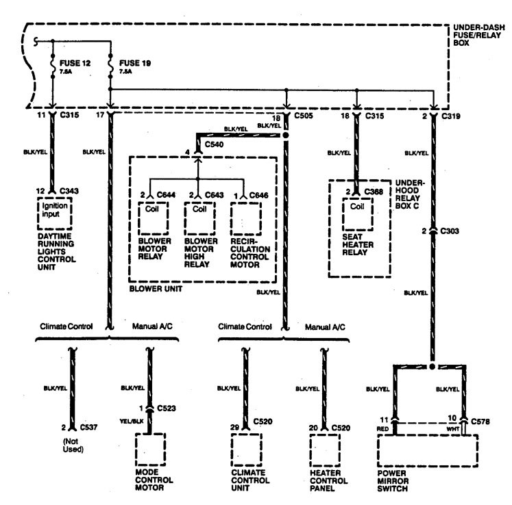Acura Legend (1994) - wiring diagrams - power distribution ... on