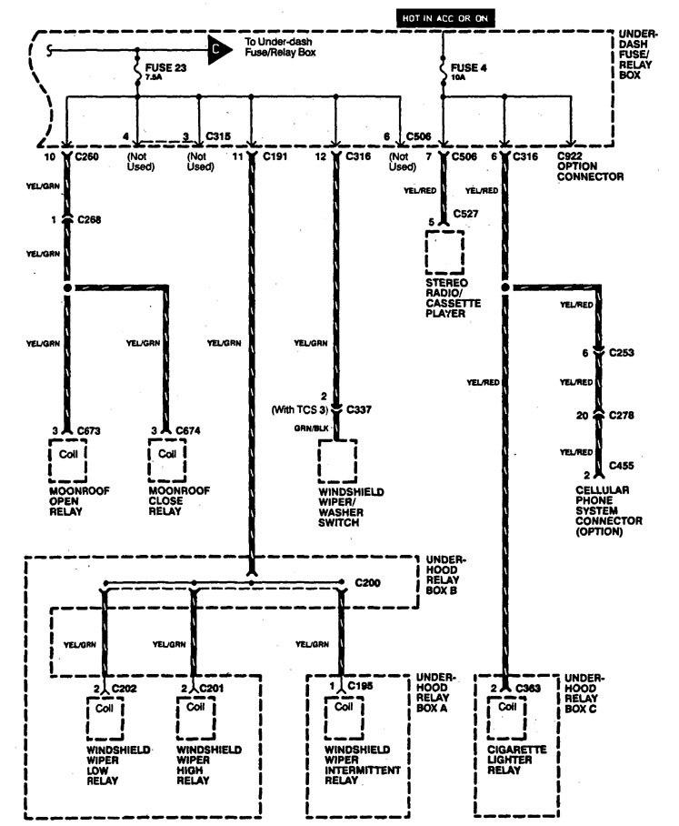 acura legend – wiring diagram – power distribution (part 8)