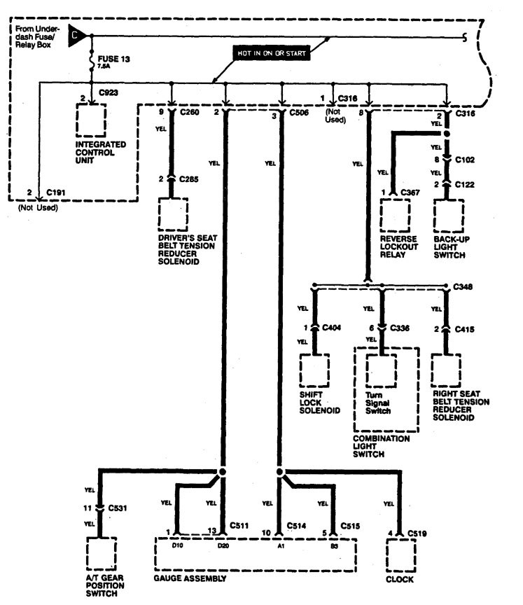 Acura Legend  1994  - Wiring Diagrams - Power Distribution