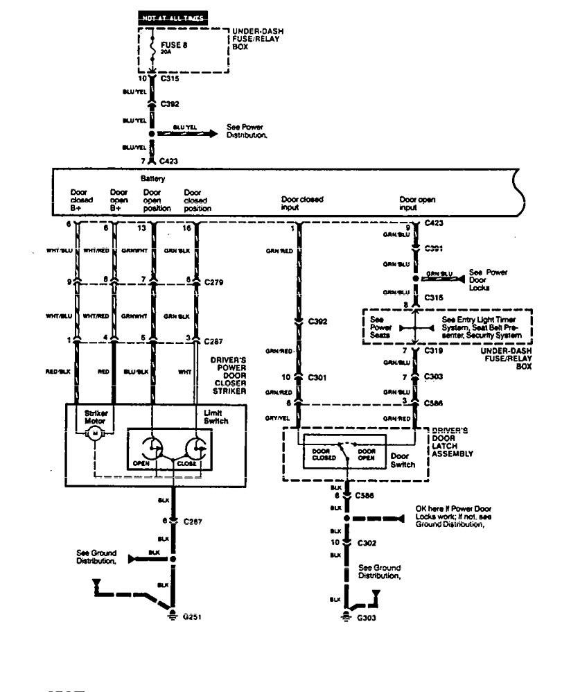 Acura Legend 1994 1995 Wiring Diagram Power Door Closer Part 1