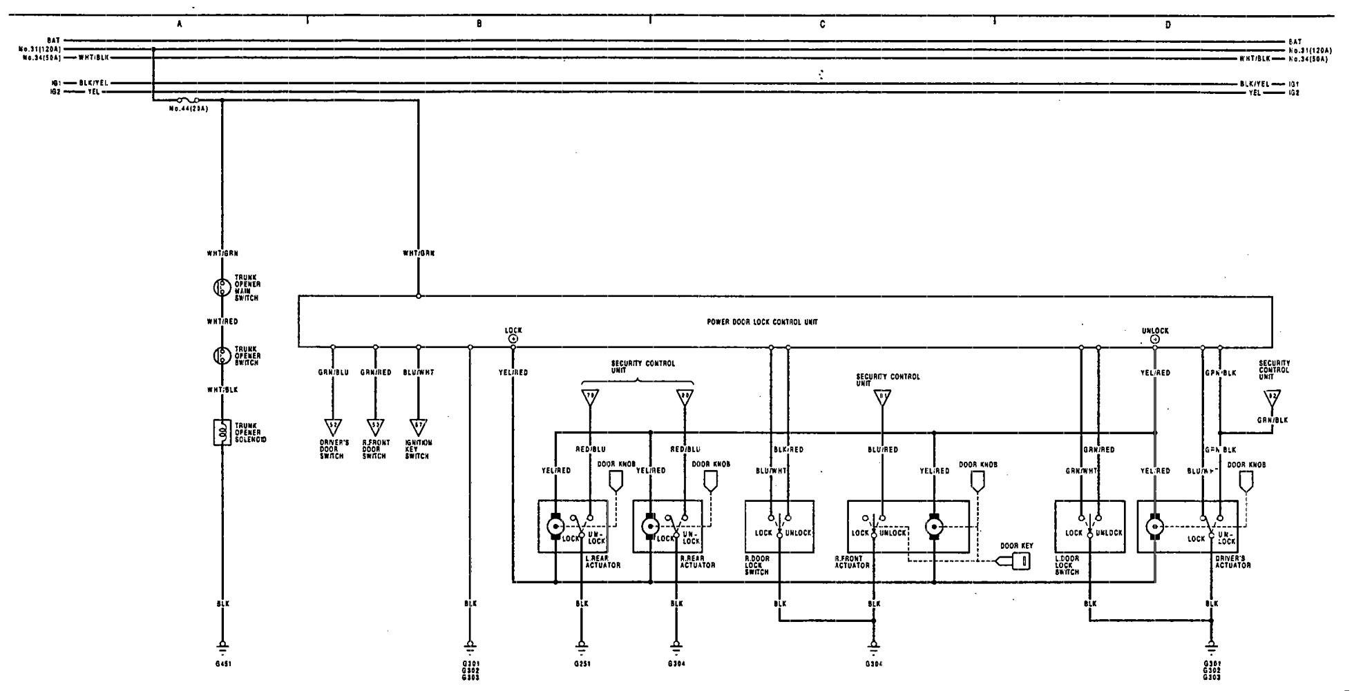 [DIAGRAM_3ER]  Acura Legend (1991 - 1993) - wiring diagram - power locks - CARKNOWLEDGE | 1993 Acura Legend Wiring Diagram |  | Carknowledge.info