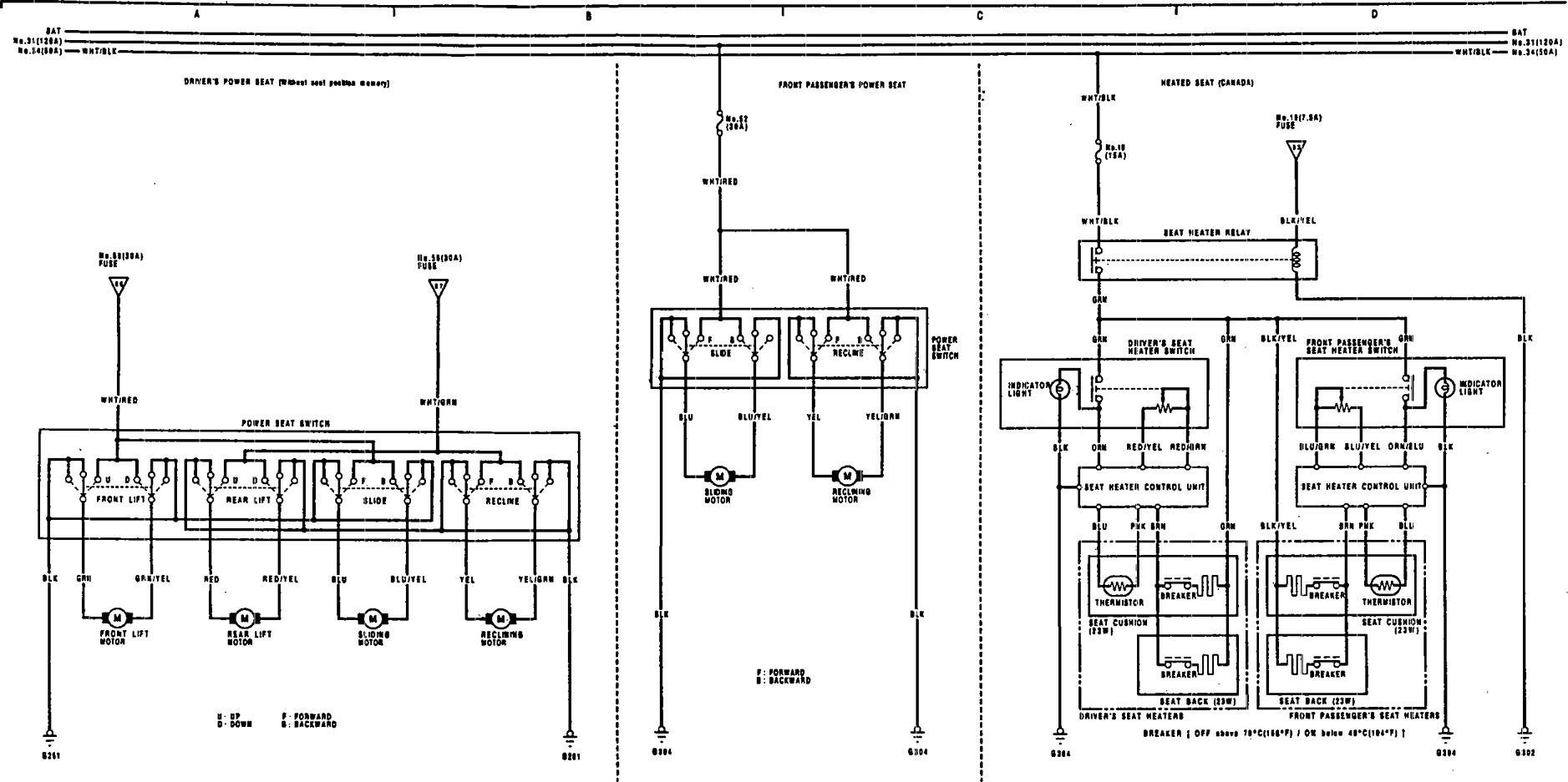 Acura Legend – wiring diagram – power seat