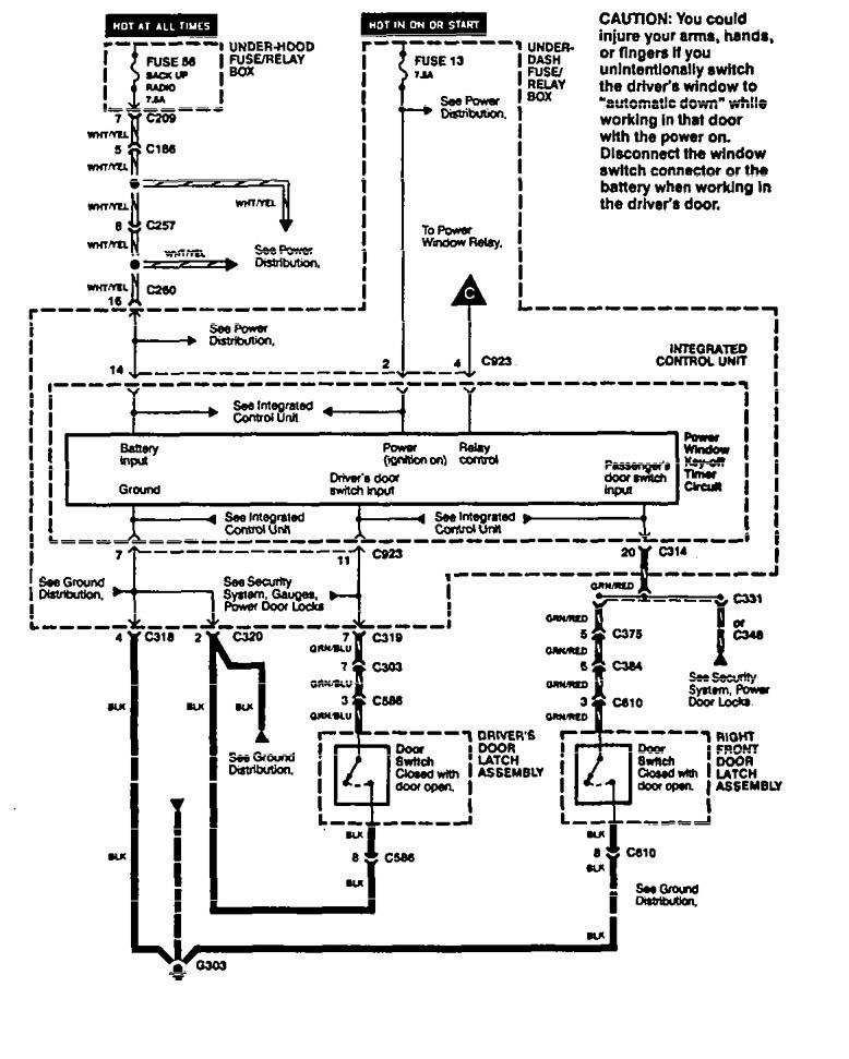 Acura Legend (1994 - 1995) - wiring system - power windows ...