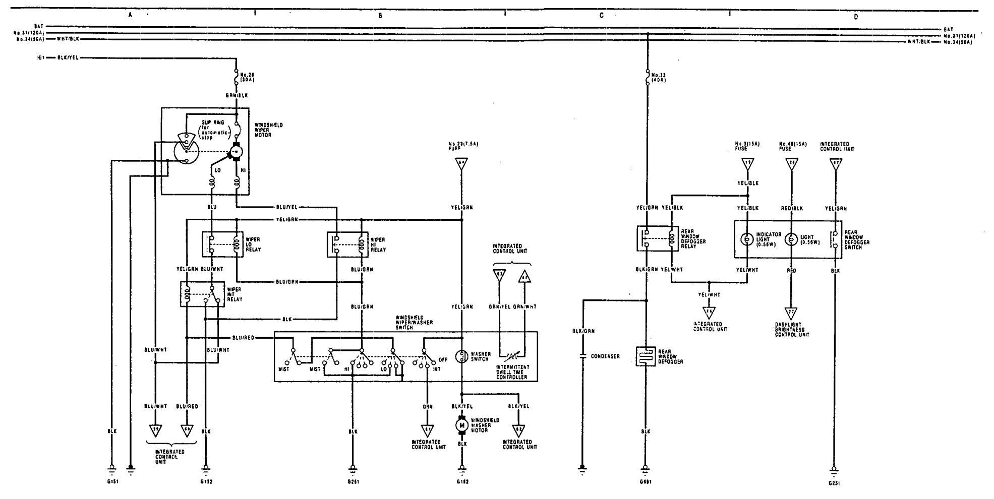 acura legend  1991  - wiring system