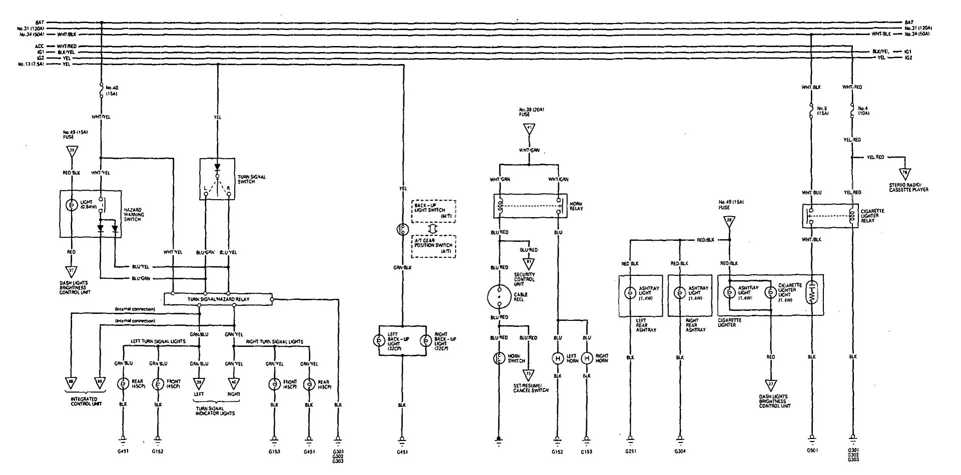 Acura Legend  1993  - Wiring Diagram - Reverse Lamp