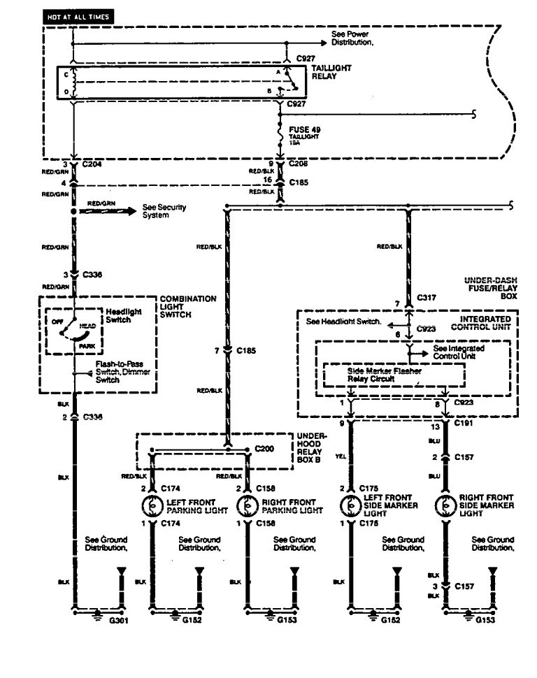 Acura Legend (1994 - 1995) - wiring diagram - side marker ...