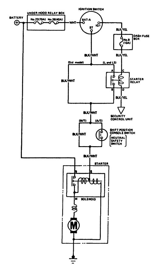 acura legend  1988  - wiring diagram - starting