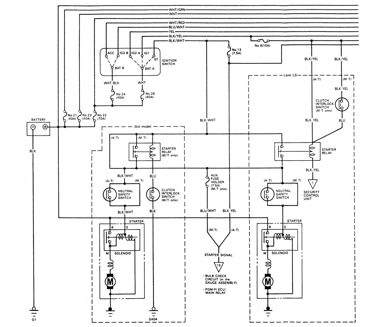 acura legend  1989  - wiring diagram - starting