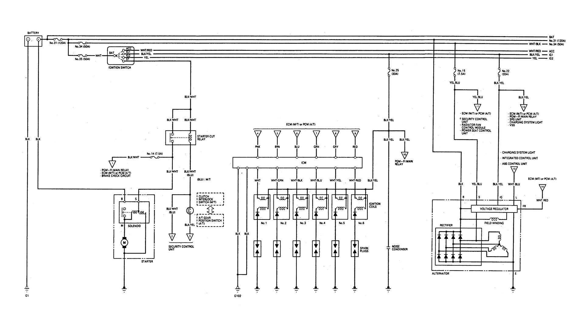 Acura Legend (1993) - wiring diagram - starting - Carknowledge.info | Acura Legend Fuel Pump Wiring Diagram |  | Carknowledge.info
