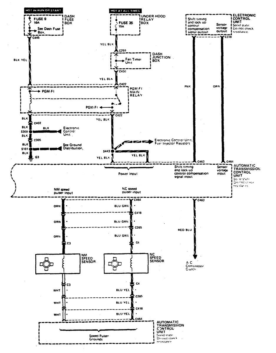Acura Legend  1990  - Wiring Diagram - Transmission Controls