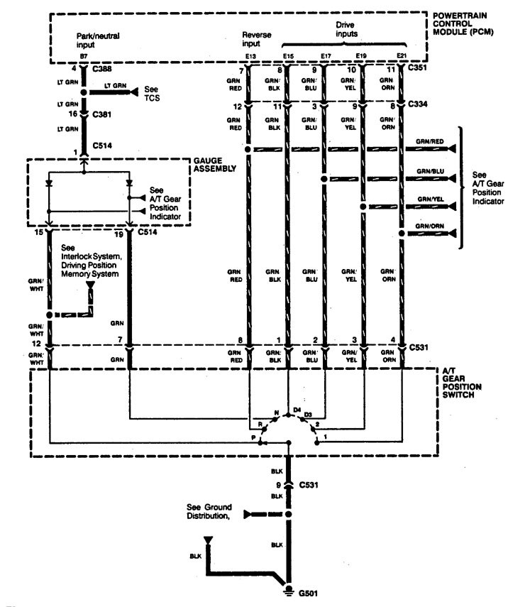 Acura Legend  1994 - 1995  - Wiring Diagram - Transmission Controls