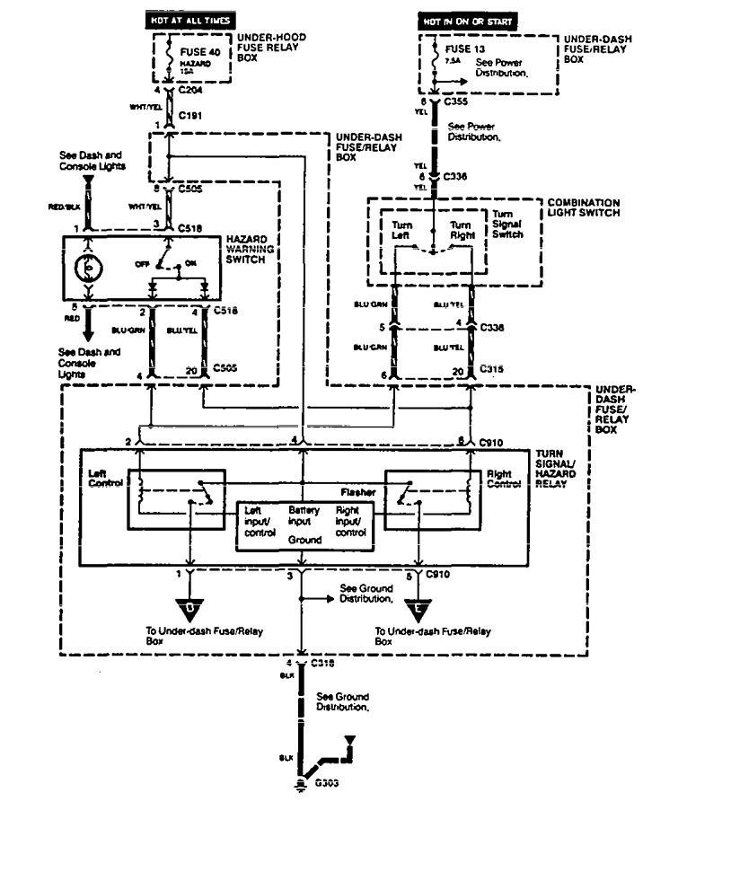 Acura Legend (1994 - 1995) - wiring diagram - turn signal lamp -  Carknowledge.info | Acura Integra Turn Signal Wiring Diagram |  | Carknowledge.info