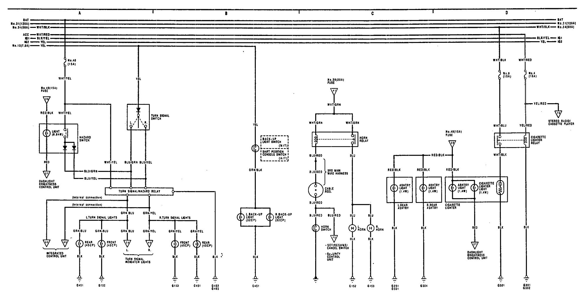 Acura Legend 1991 1993 Wiring Diagram Turn Signal Lamp Lamps