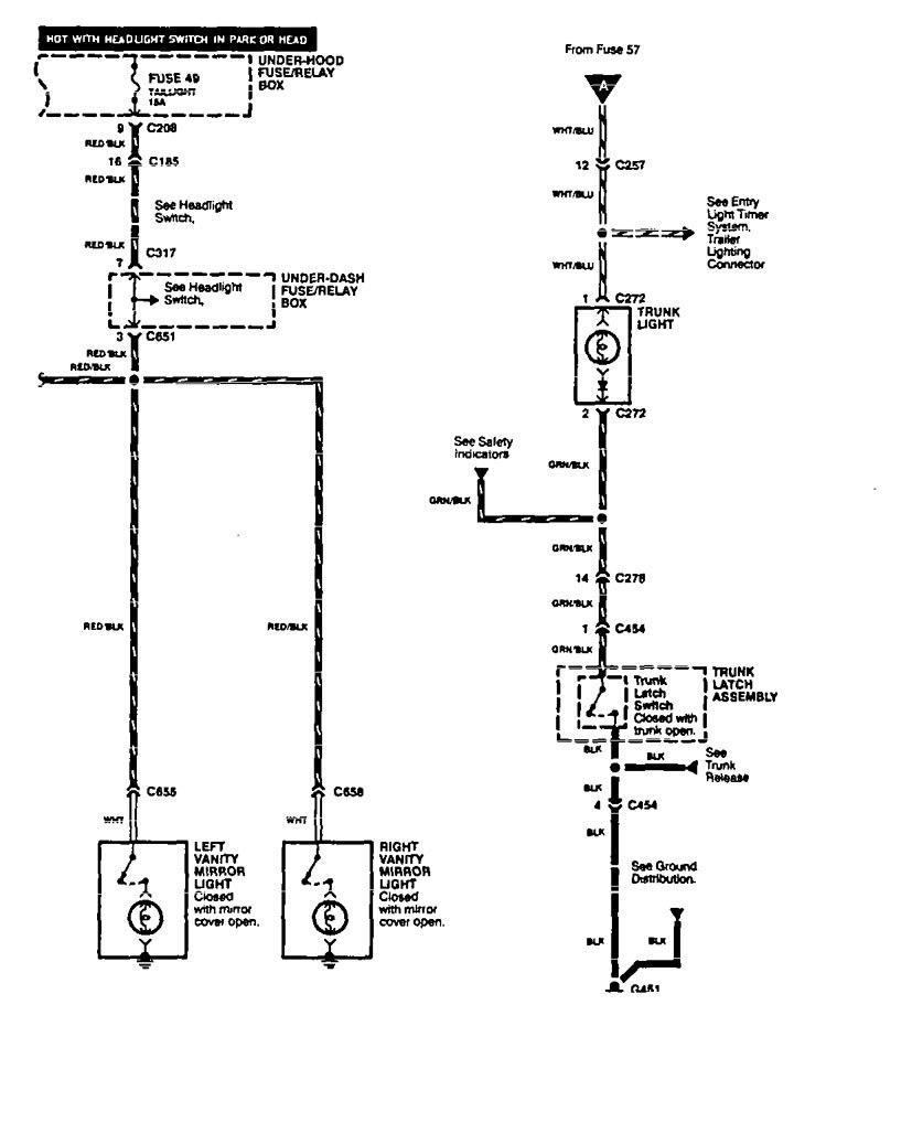 Acura Legend 1994 1995 Wiring Diagram Vanity Mirror Lamp Part 2