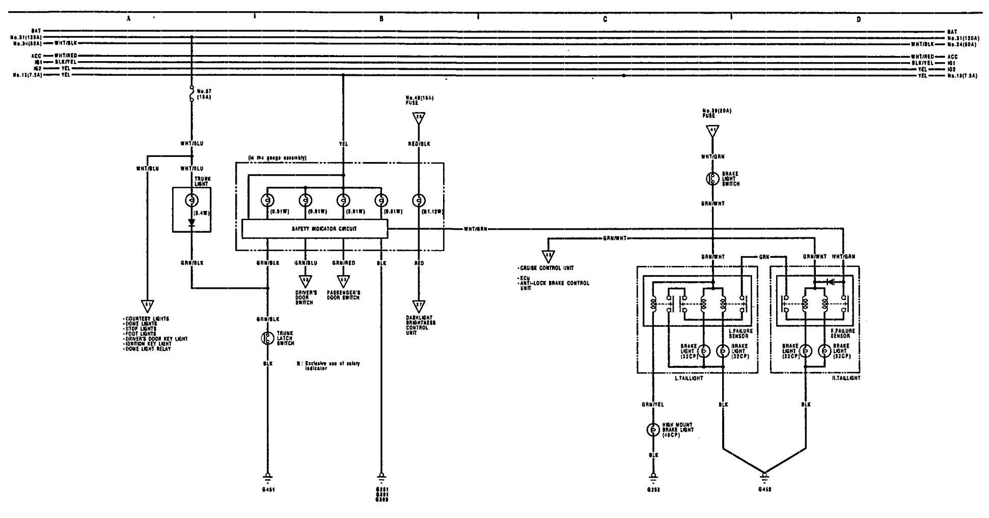 honda legend wiring diagram acura legend (1991) - wiring diagrams - warning indicator ... 1991 legend wiring diagram