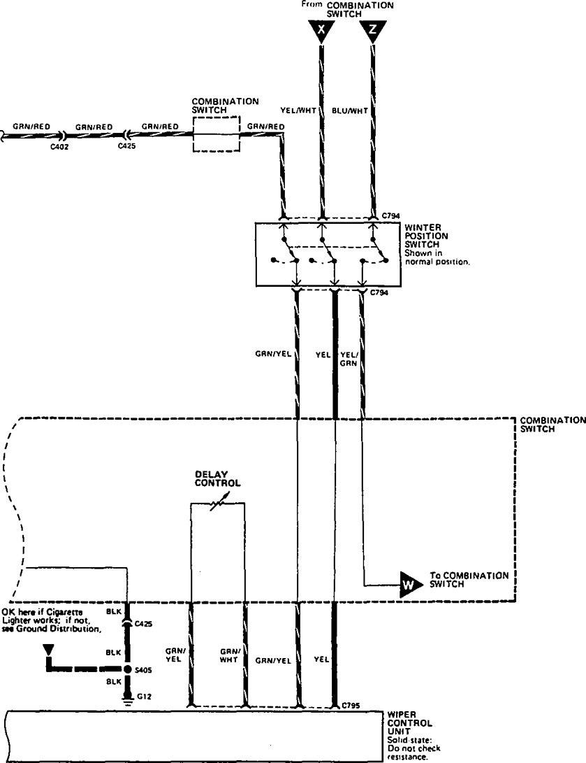 Acura Legend  1990  - Wiring Diagram  Washer