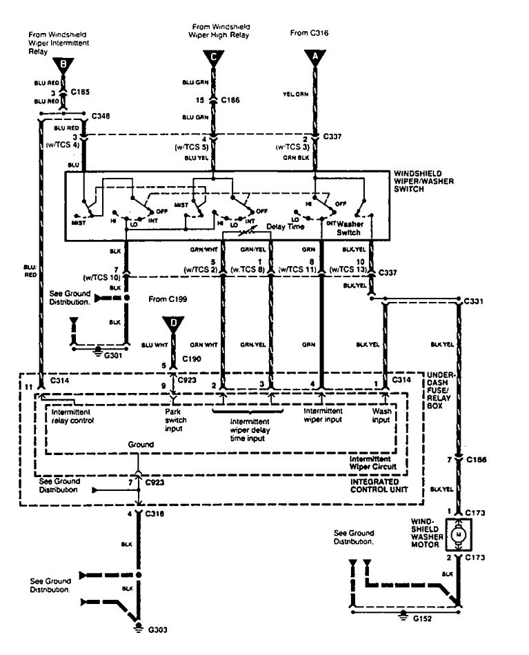 acura legend  1995  - wiring diagram  washer