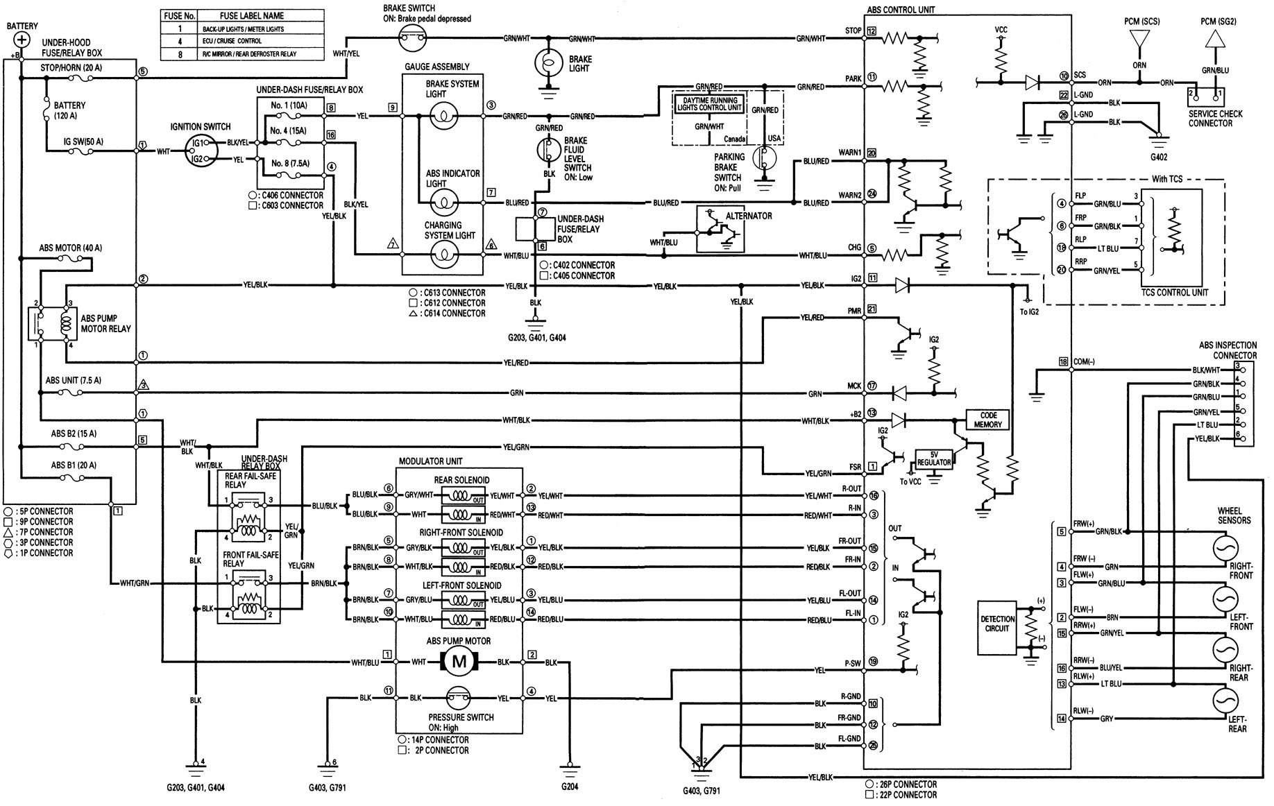 Acura Tl  1998  - Wiring Diagrams - Brake Controls
