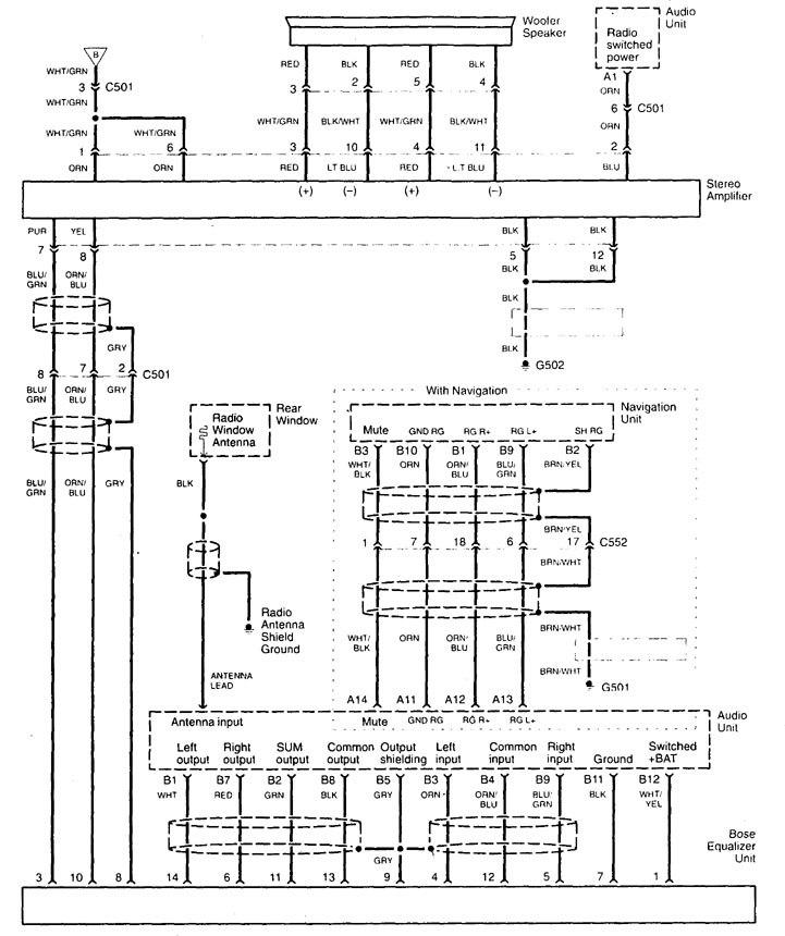 acura tl  1998 - 1999  - wiring diagrams - audio