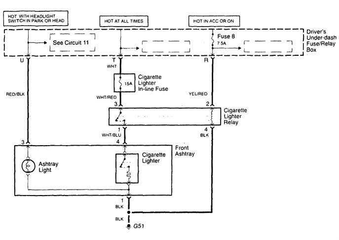 Acura TL (1998 - 2001) - wiring diagrams - cigar lighter - CARKNOWLEDGE