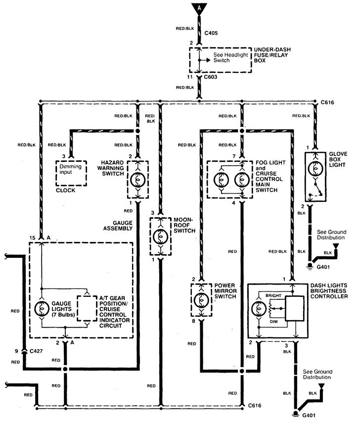 Acura TL (1998) - wiring diagrams - console lamp ...