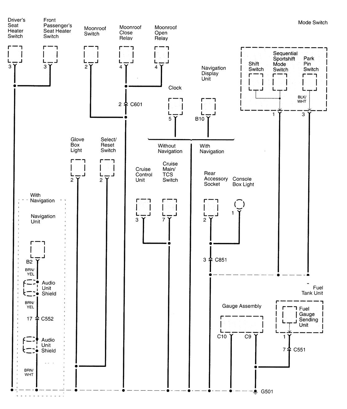 ... Acura TL – wiring diagram – fuse panel (part 7) ...
