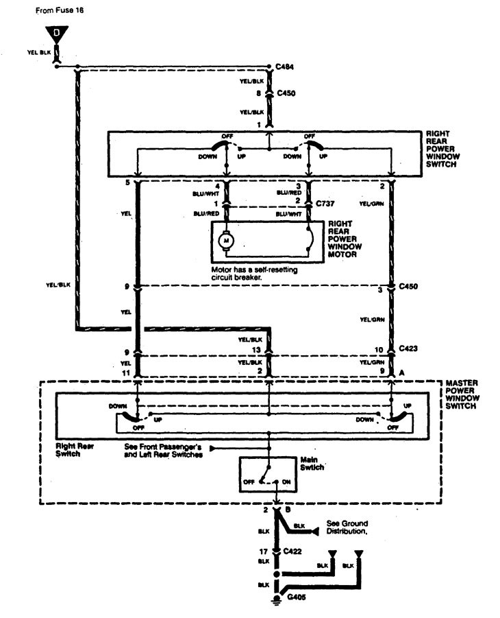 Acura TL (1997) - wiring diagrams - power windows ...