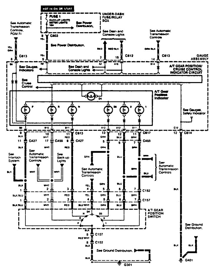Acura TL (1996 - 1997) - wiring diagrams - shift indicator ...