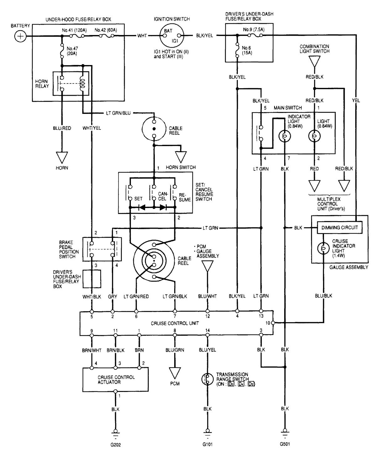 Acura Tl  2000 - 2001  - Wiring Diagrams - Speed Control