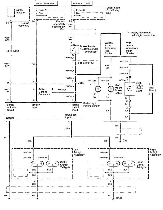 Acura Tl  1999  - Wiring Diagrams - Stop Lamp