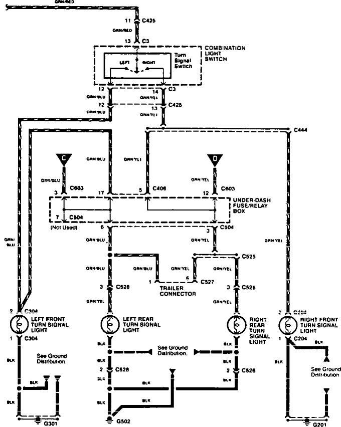 Acura TL (1995 - 1997) - wiring diagrams - turn signal ...
