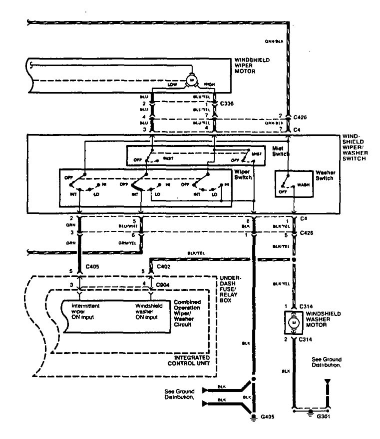 Acura Tl  1996  - Wiring Diagrams  Washer