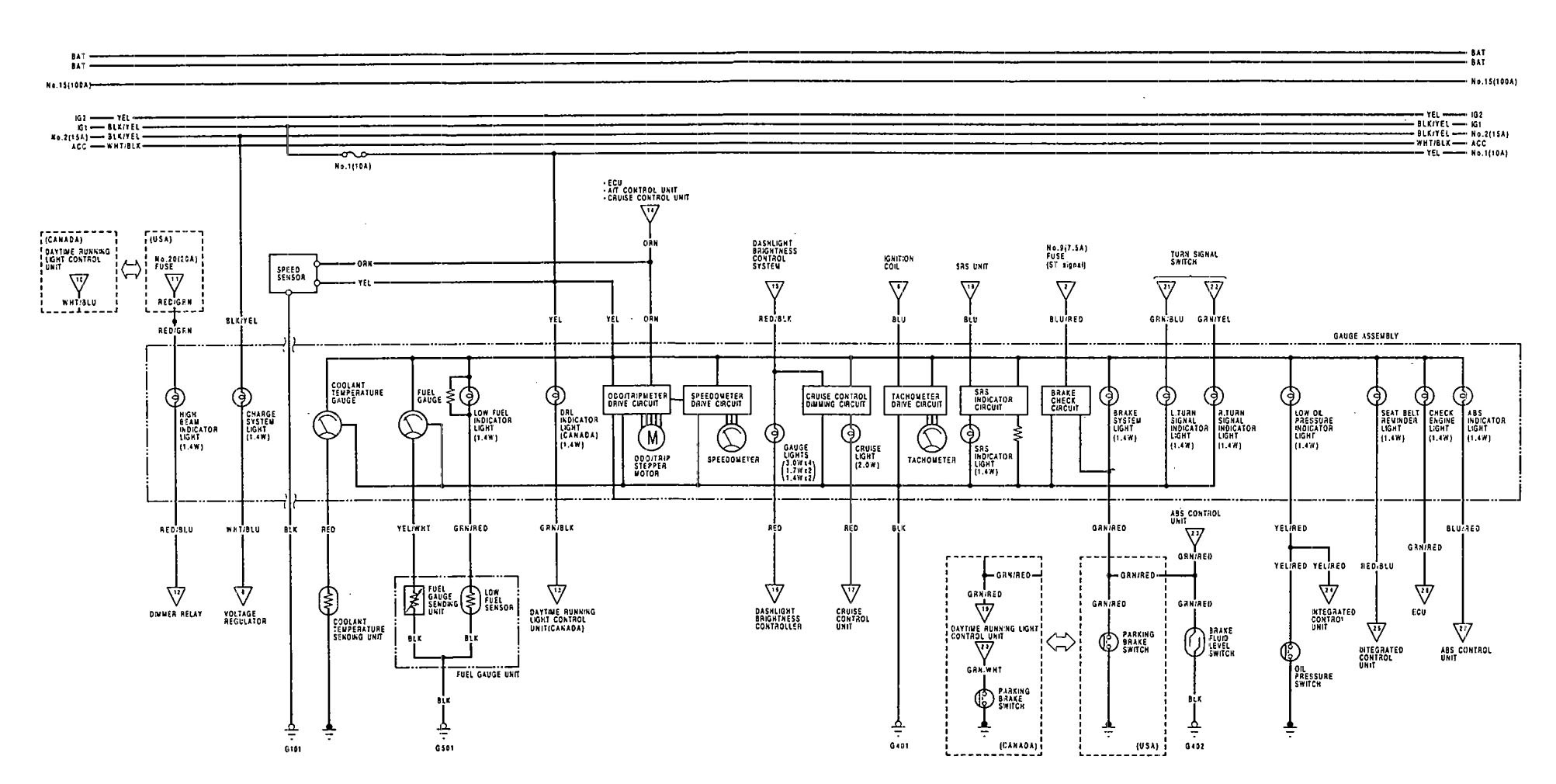 acura vigor  1992  - wiring diagrams - instrumentation