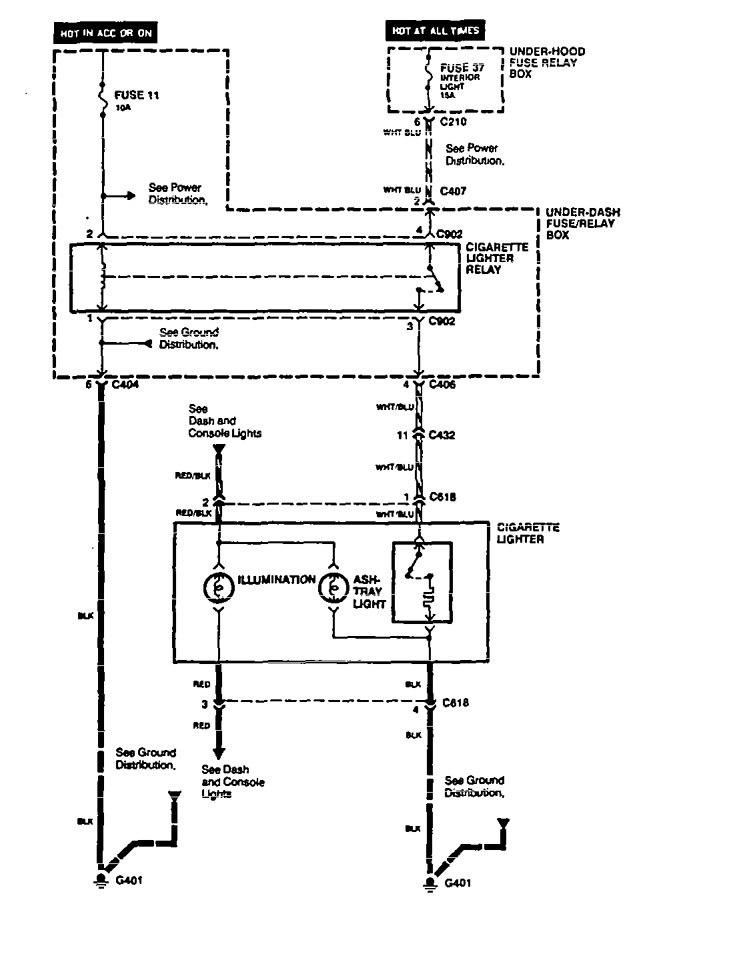 Acura       Vigor     1994   wiring    diagrams     cigar lighter