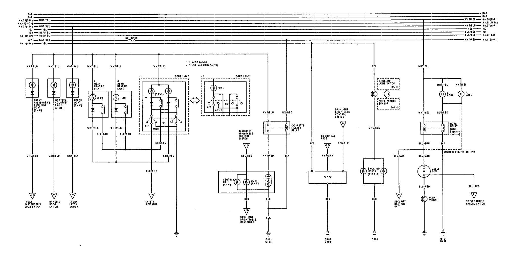 Acura Vigor  1992  - Wiring Diagrams - Clock