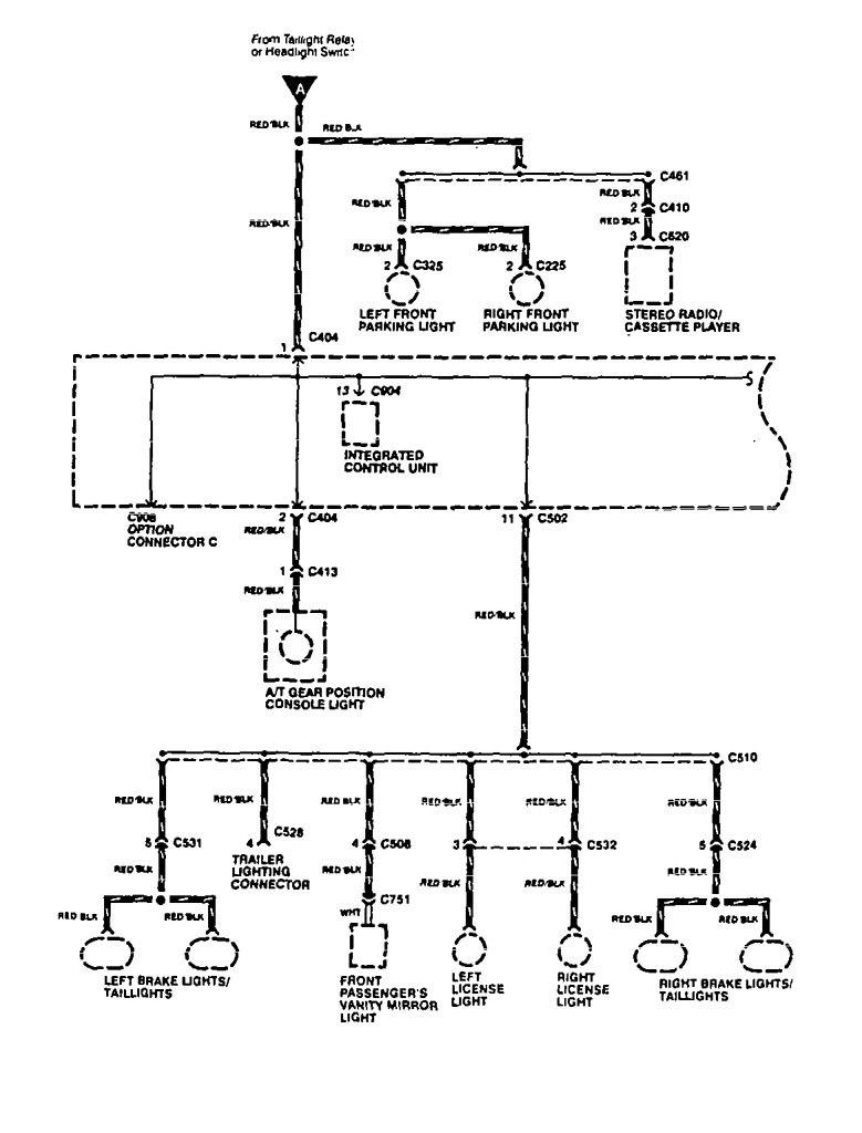 Acura Vigor  1994  - Wiring Diagrams - Headlamp Switch