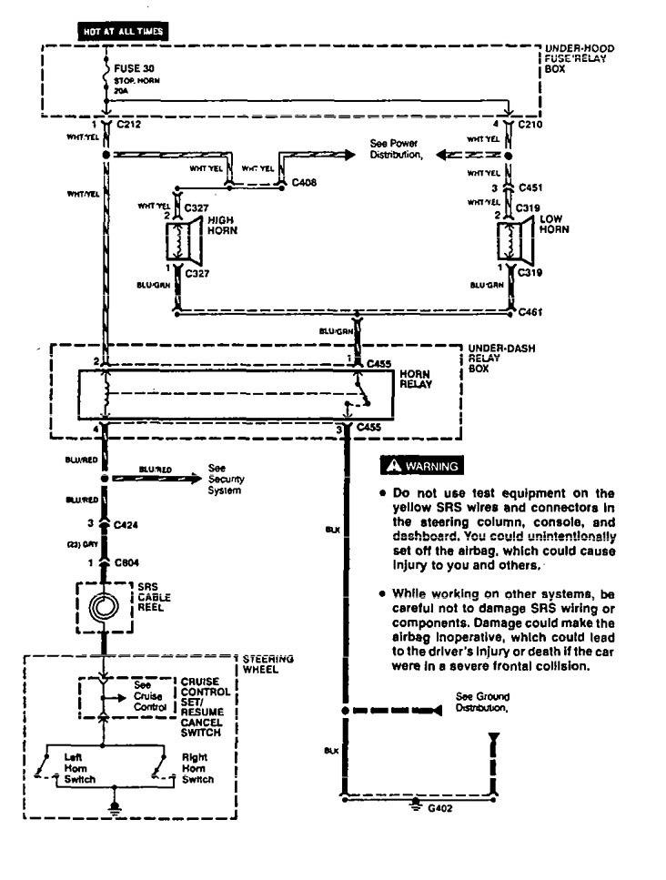 Acura Vigor  1994  - Wiring Diagrams - Horn