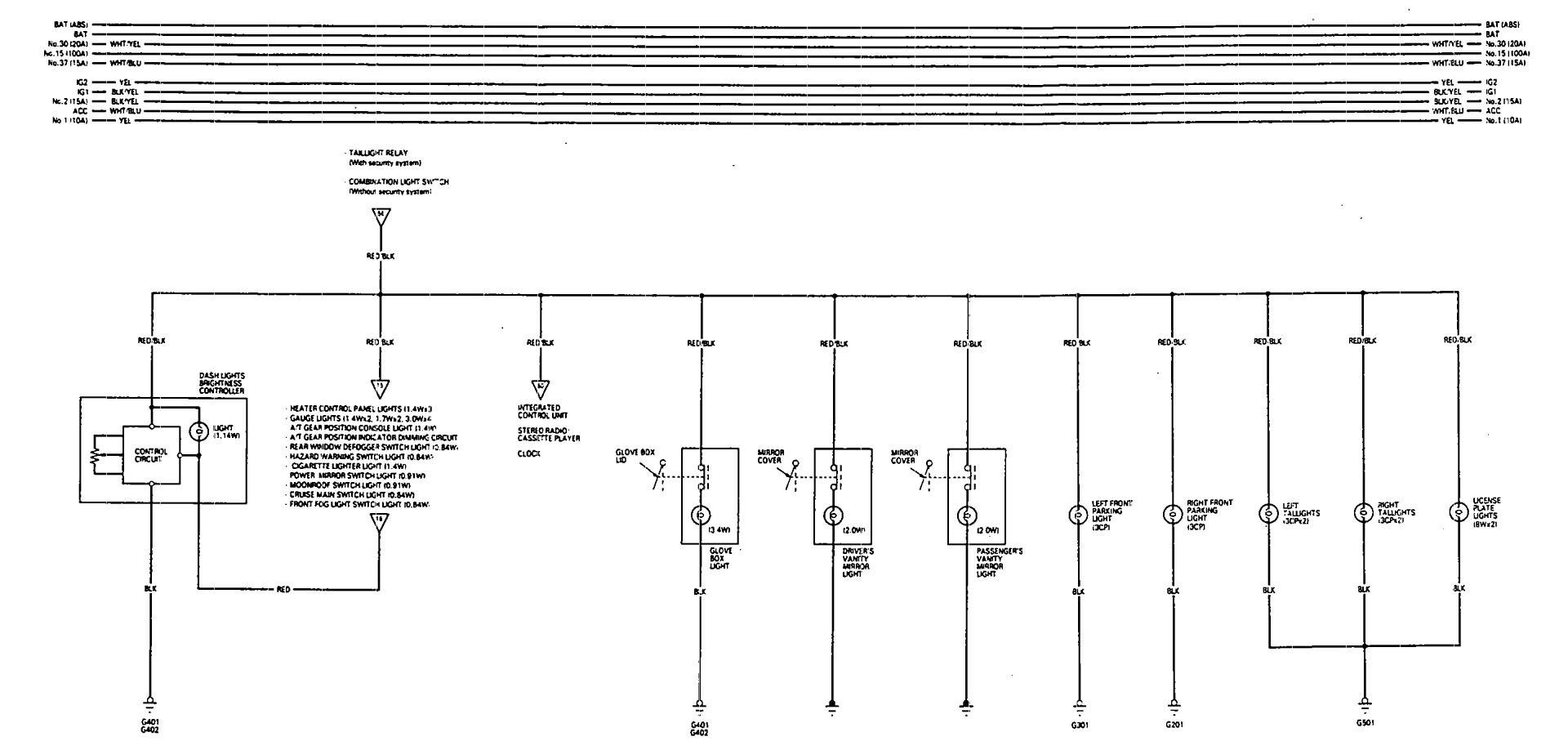 Acura Vigor  1993  - Wiring Diagrams  P Lamp Dimming