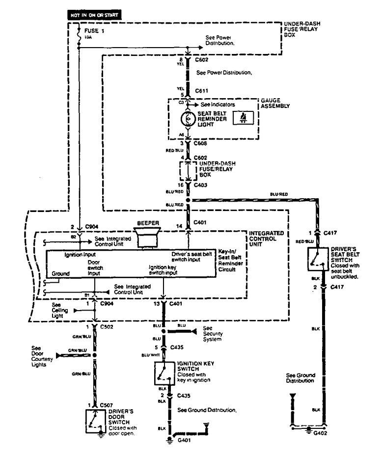 Acura Vigor  1994  - Wiring Diagrams - Lamp Out Warning