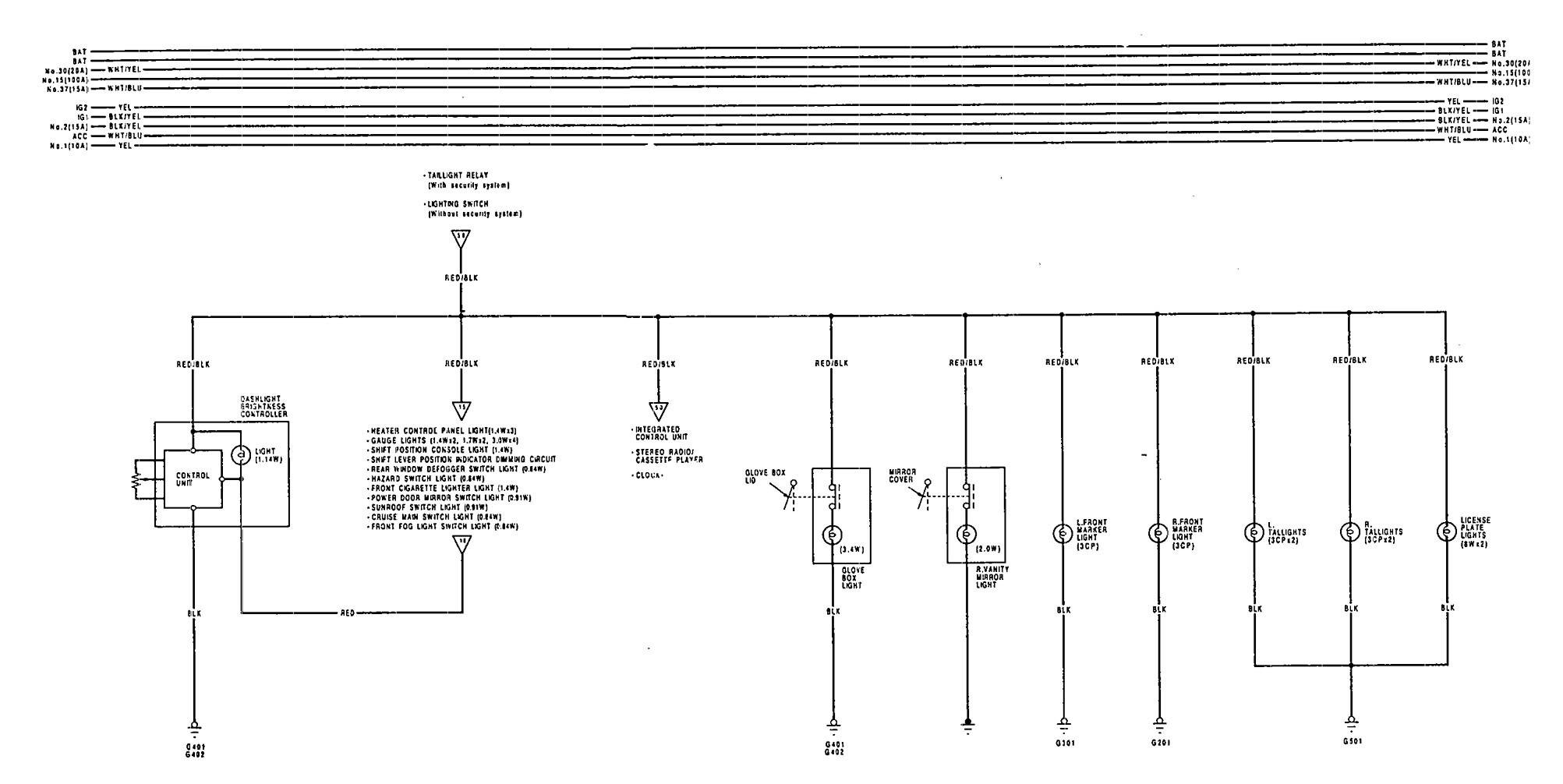 Acura Vigor (1992) - wiring diagrams - license plate lamp ...