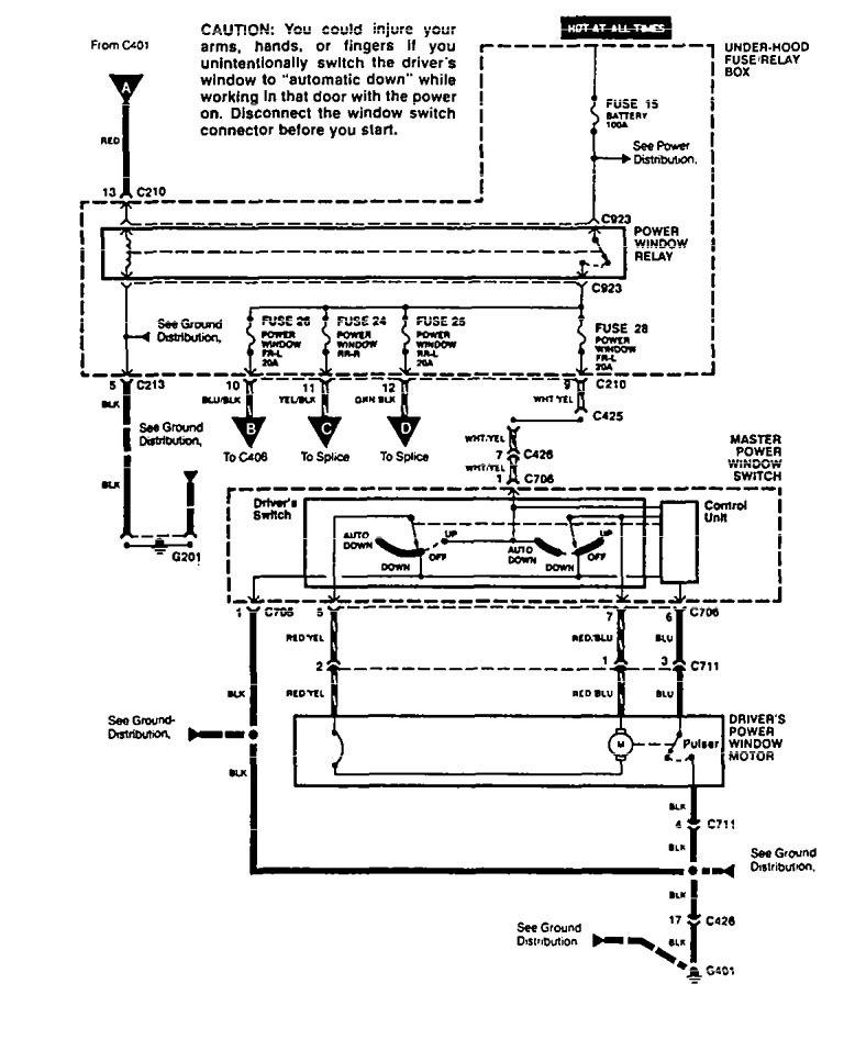 Acura Vigor (1994) - wiring diagrams - power windows ...