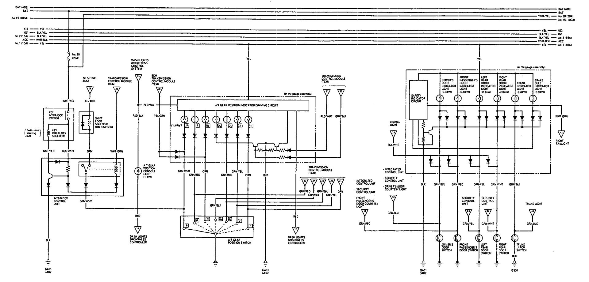 Acura Vigor 1993 Wiring Diagrams Shift Indicator