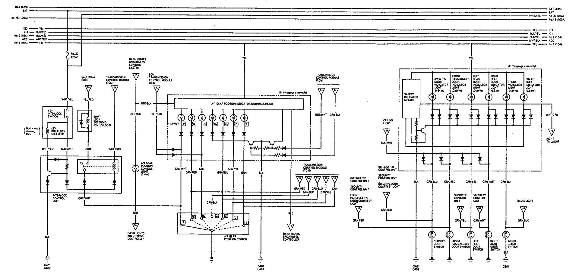 Acura Vigor (1993) - wiring diagrams - shift indicator - Carknowledge.info | Acura Vigor Wiring Diagram |  | Carknowledge.info